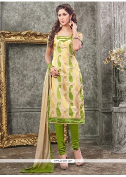 Mod Lace Work Chanderi Churidar Designer Suit