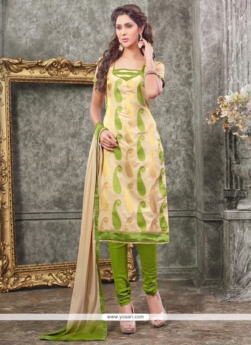 Mod Lace Work Chanderi Churidar Designer Suit