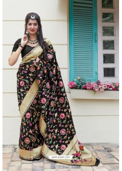 Black Designer Weaving Banarasi Silk Classic Wear Sari