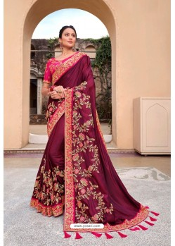 Wine Latest Designer Party Wear Satin Georgette Wedding Sari