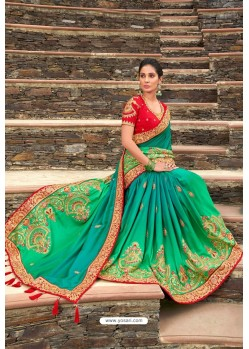 Multi Colour Latest Designer Party Wear Satin Georgette Wedding Sari