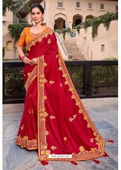 Crimson Latest Designer Party Wear Satin Georgette Wedding Sari