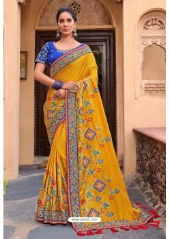 Yellow Latest Designer Party Wear Satin Georgette Wedding Sari