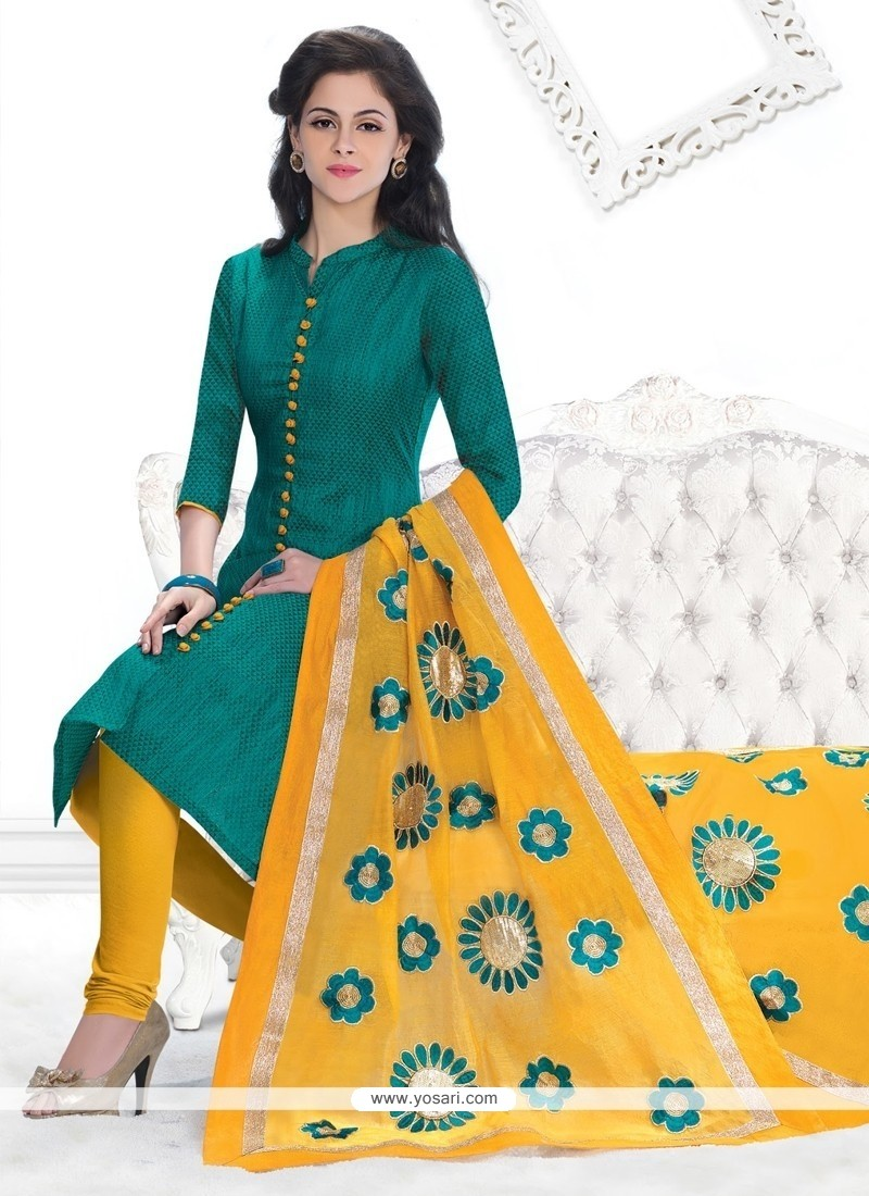 Picturesque Green Lace Work Jacquard Churidar Designer Suit