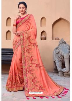 Orange Latest Designer Party Wear Satin Georgette Wedding Sari