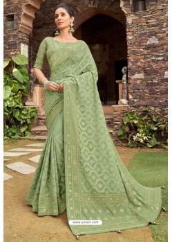 Green Latest Designer Party Wear Satin Georgette Wedding Sari