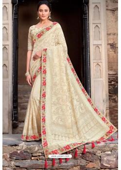 Cream Latest Designer Party Wear Satin Georgette Wedding Sari