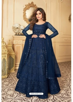 Navy Blue Heavy Designer Butterfly Net Party Wear Anarkali Suit