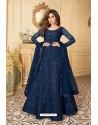 Navy Blue Heavy Designer Butterfly Net Party Wear Anarkali Suit