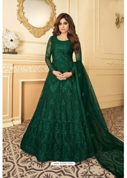 Green Heavy Designer Butterfly Net Party Wear Anarkali Suit