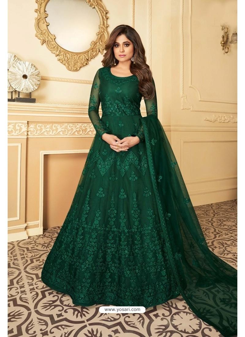 Green Heavy Designer Butterfly Net Party Wear Anarkali Suit