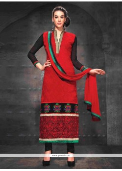Delightful Red And Black Resham Churidar Suit