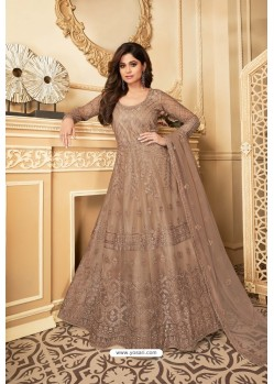 Beige Heavy Designer Butterfly Net Party Wear Anarkali Suit