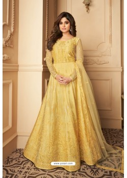 Yellow Heavy Designer Butterfly Net Party Wear Anarkali Suit