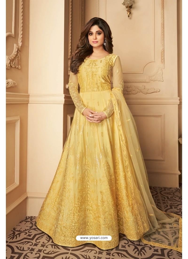 Yellow Heavy Designer Butterfly Net Party Wear Anarkali Suit