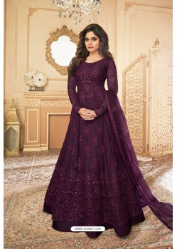 Deep Wine Heavy Designer Butterfly Net Party Wear Anarkali Suit