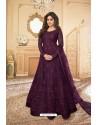 Deep Wine Heavy Designer Butterfly Net Party Wear Anarkali Suit