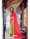 Green And Red Heavy Embroidered Designer Wear Wedding Sari