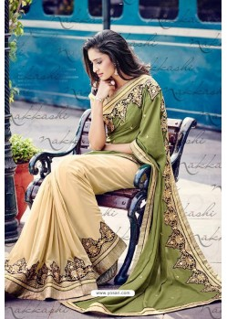 Cream And Green Heavy Embroidered Designer Wear Wedding Sari