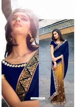 Mustard Heavy Embroidered Designer Wear Wedding Sari