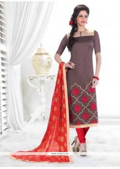 Congenial Grey Lace Work Banarasi Silk Churidar Designer Suit