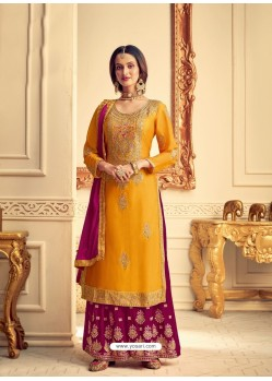 Yellow Designer Pure Chinon Party Wear Palazzo Suit
