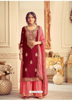 Maroon Designer Pure Chinon Party Wear Palazzo Suit