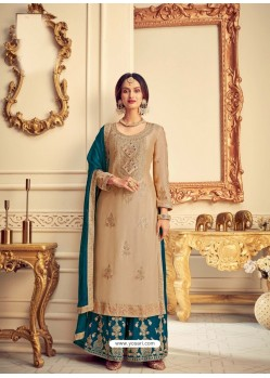 Beige Designer Pure Chinon Party Wear Palazzo Suit