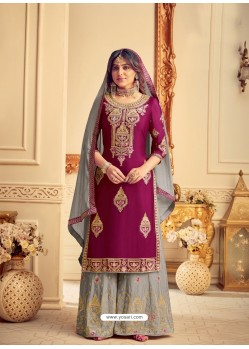 Violet Designer Pure Chinon Party Wear Palazzo Suit