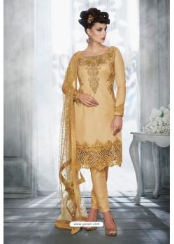 Cream Latest Heavy Designer Party Wear Wedding Salwar Suit