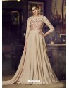 Light Beige Heavy Designer Embroidered Party Wear Gown Style Anarkali Suit