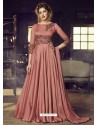 Rust Heavy Designer Embroidered Party Wear Gown Style Anarkali Suit