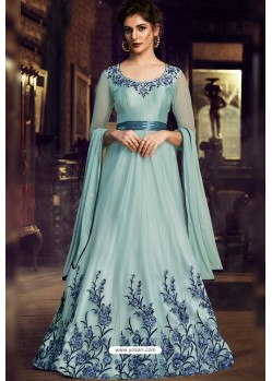 Sky Blue Heavy Designer Embroidered Party Wear Gown Style Anarkali Suit