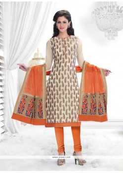 Fab Cream Lace Work Chanderi Churidar Salwar Suit