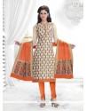 Fab Cream Lace Work Chanderi Churidar Salwar Suit
