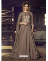 Camel Heavy Designer Embroidered Party Wear Gown Style Anarkali Suit