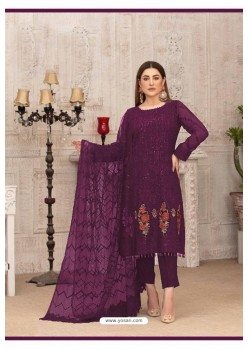 Purple Latest Heavy Designer Party Wear Straight Salwar Suit