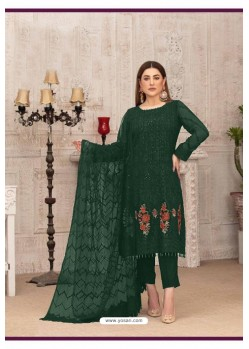 Dark Green Latest Heavy Designer Party Wear Straight Salwar Suit