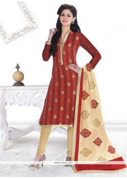 Sensational Lace Work Jacquard Churidar Designer Suit