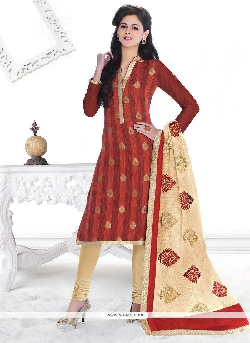 Sensational Lace Work Jacquard Churidar Designer Suit
