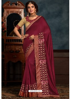 Wine Latest Designer Party Wear Poly Silk Sari