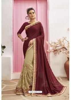 Beige Designer Party Wear Chanderi Silk Wedding Sari