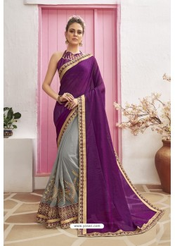 Grey Designer Party Wear Chanderi Silk Wedding Sari