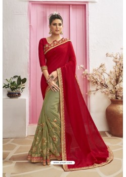 Red Designer Party Wear Chanderi Silk Wedding Sari