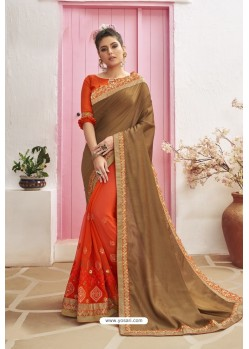 Orange Designer Party Wear Chanderi Silk Wedding Sari