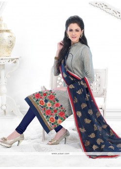 Spectacular Grey Churidar Designer Suit