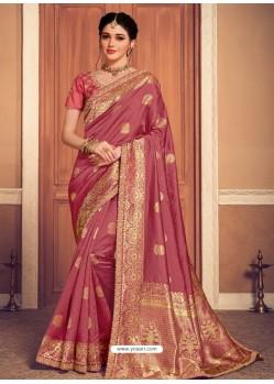 Old Rose Latest Designer Party Wear Banarasi Silk Sari