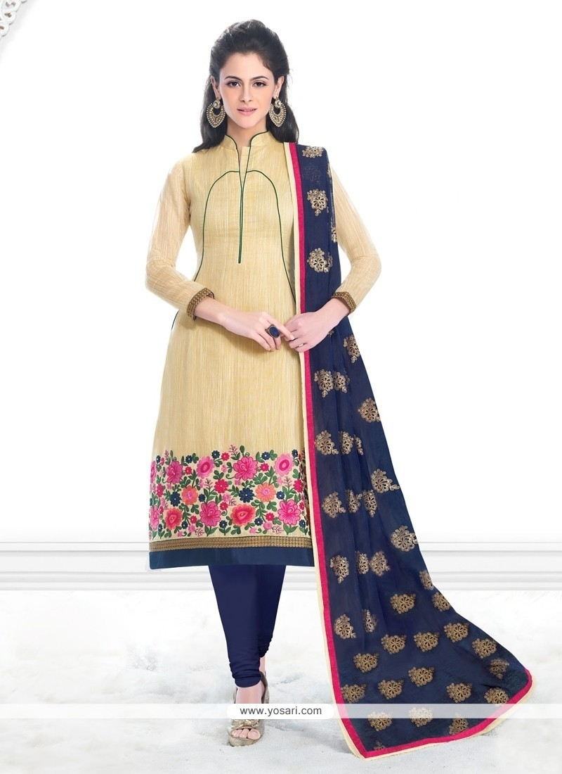 Miraculous Lace Work Cream Banarasi Silk Churidar Salwar Suit
