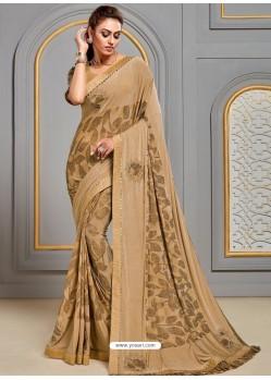 Beige Latest Designer Party Wear Jute Silk Sari
