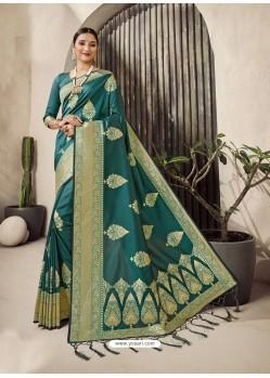 Teal Designer Classic Wear Jacquard Wedding Sari